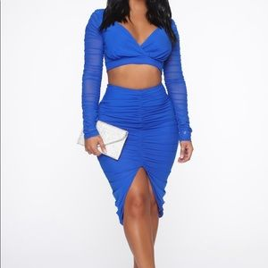 Made It This Far Skirt Set - Royal